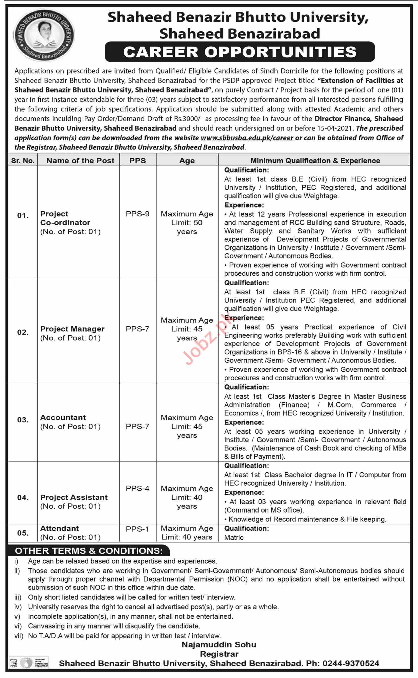 Shaheed Benazir Bhutto University Shaheed Benazirabad Jobs