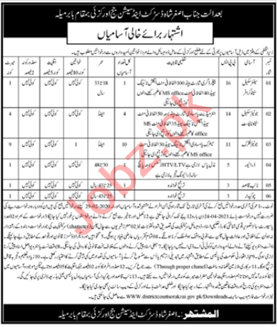 District & Session Court Orakzai Jobs for Driver & Clerk