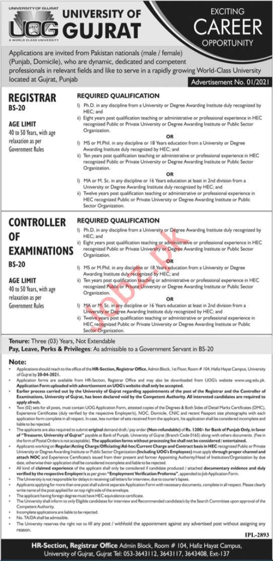 University of Gujrat UOG Jobs 2021 for Registrar