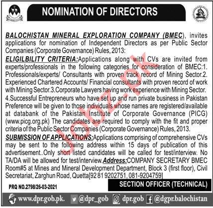 Director Jobs Balochistan Mineral Exploration Company BMEC