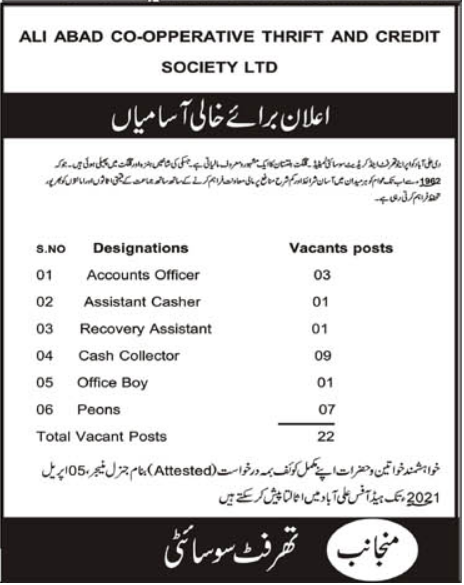 Ali Abad Cooperative Thrift and Credit Society Limited Jobs