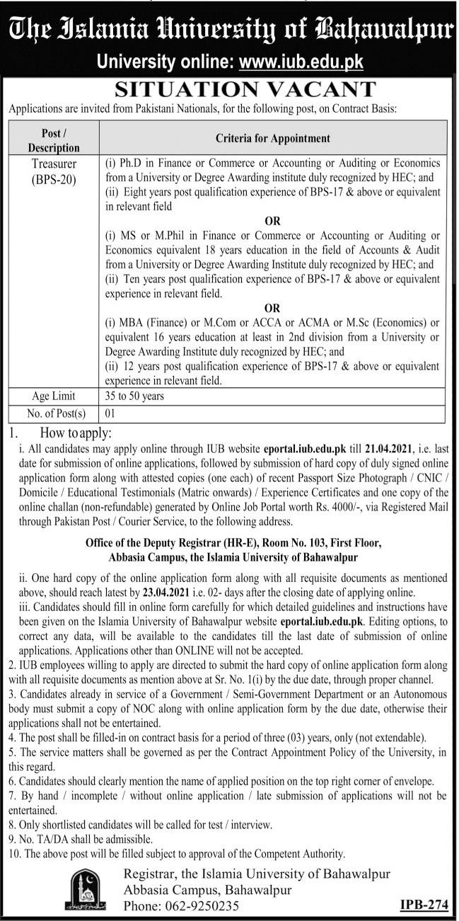 The Islamia University of Bahawalpur Job 2021 For Treasurer