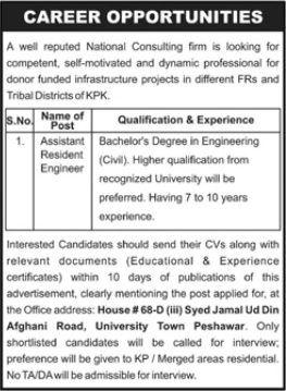 National Consulting Firm Jobs 2021 in Peshawar