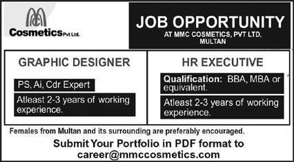 Cosmetics Company Jobs 2021 in Multan