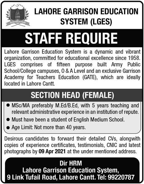 Lahore Garrison Education System LGES Jobs 2021
