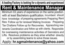 Rent & Maintenance Manager Jobs 2021 in Karachi
