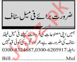 Jang Sunday Classified Ads 28th March 2021 for Sales Staff