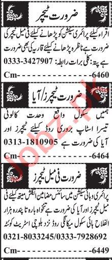 Jang Sunday Classified Ads 28th March 2021 Teaching Staff