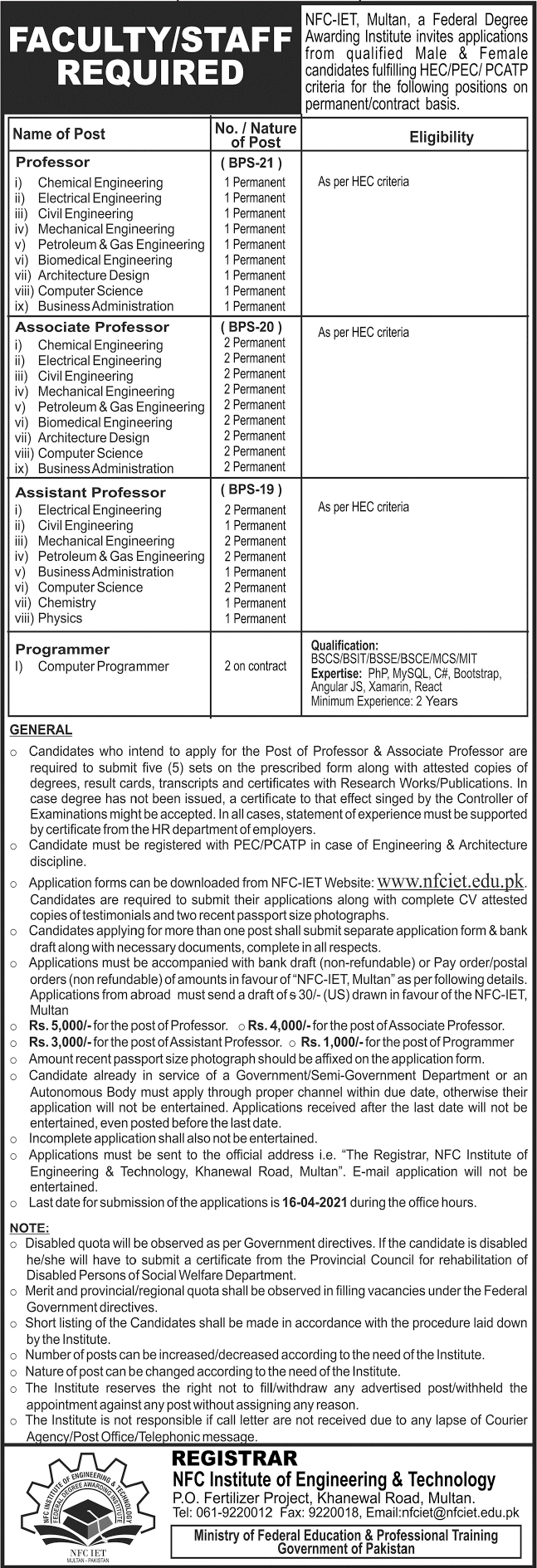 NFC Institute of Engineering & Technology Jobs in Multan