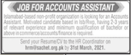 Accounts Assistant Job 2021 in Rawalpindi & Islamabad