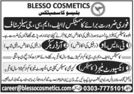 Blesso Cosmetics Jobs 2021 in Lahore