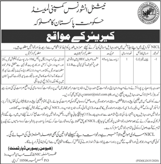 NICL Job 2021 For Chief Manager Law in Karachi