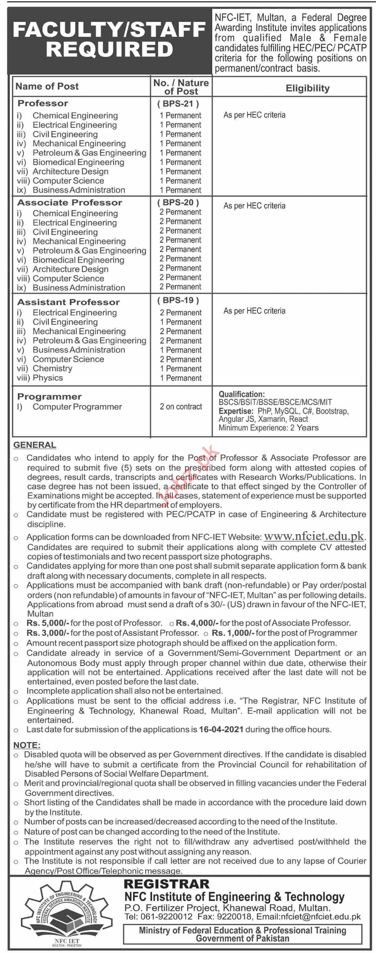 NFC IET Multan Jobs 2021 for Professor & Programmer