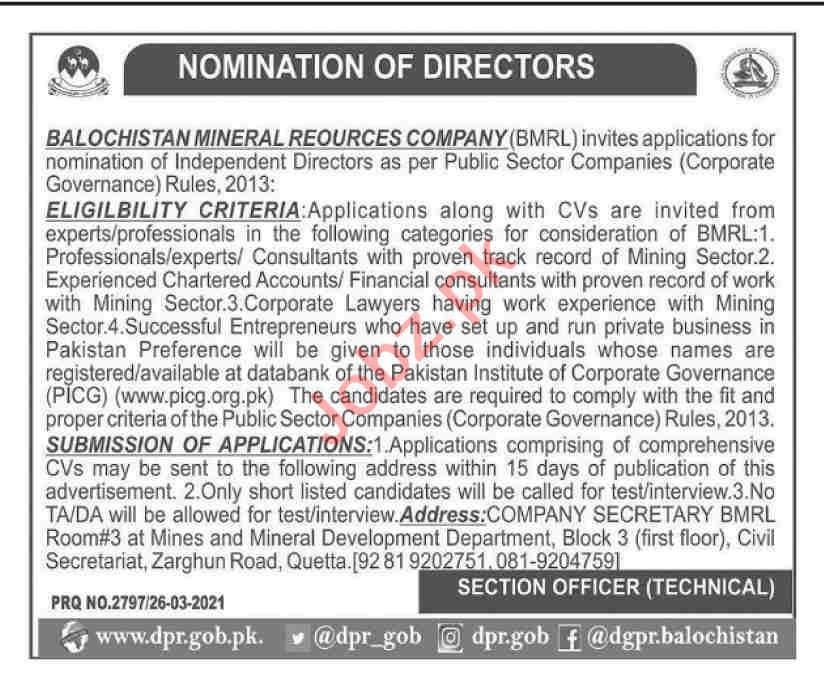 Balochistan Mineral Resource Limited BMR Jobs for Director