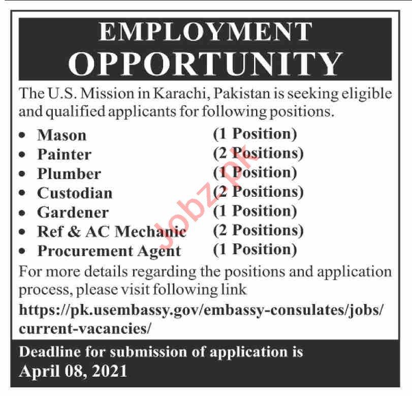 US Mission Karachi Jobs 2021 for Mason & Procurement Agent