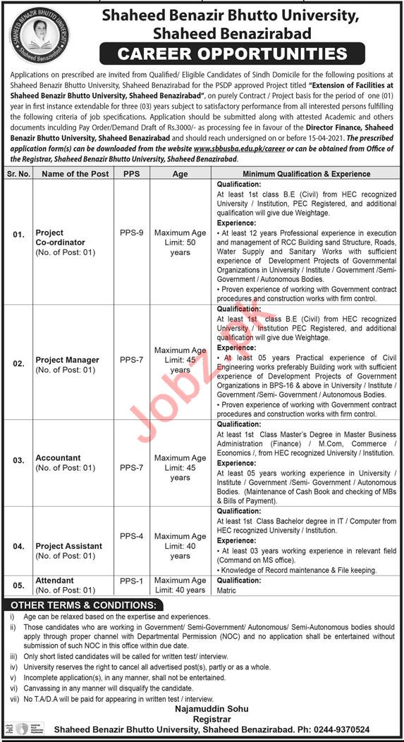 Shaheed Benazir Bhutto University SBBU Jobs 2021 for Manager