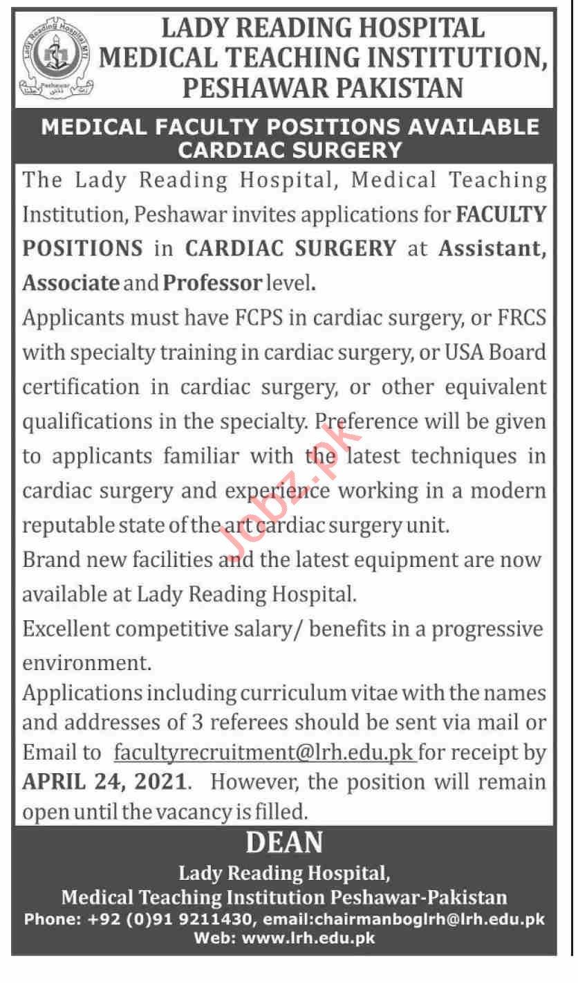 Lady Reading Hospital LRH Jobs 2021 for Professors
