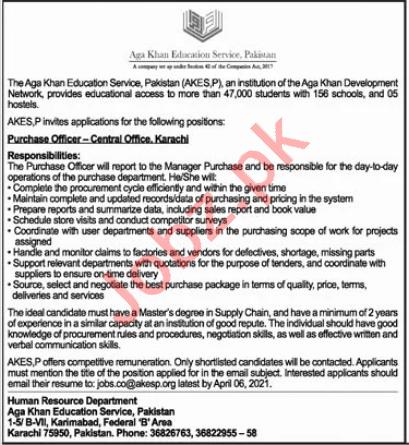 Aga Khan Education Services AKES Karachi Jobs 2021