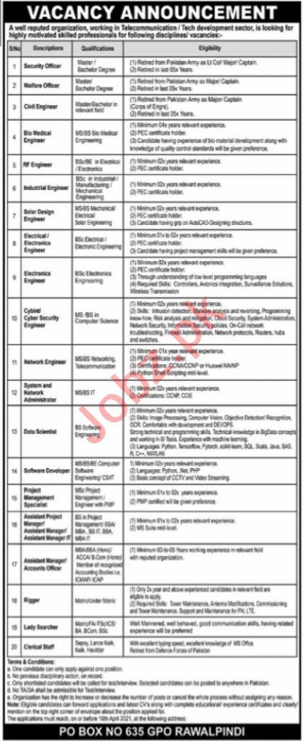 P O Box No 635 GPO Rawalpindi Jobs 2021 for Managers