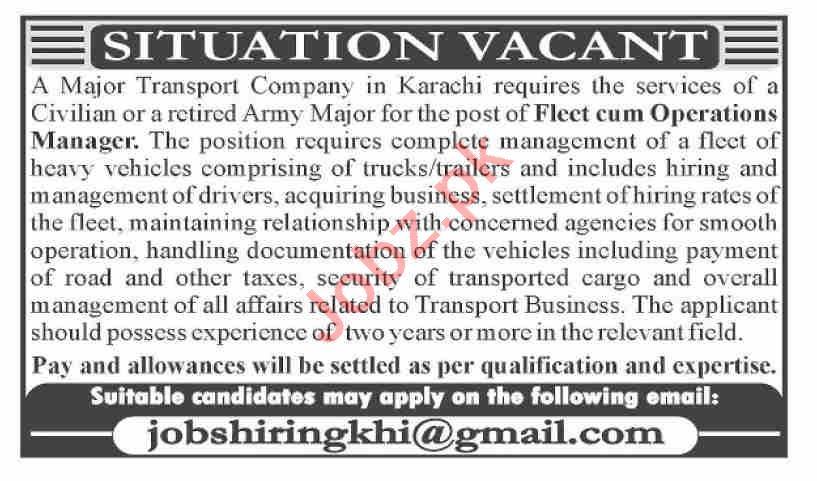 Operations Manager & Fleet Manager Jobs 2021 in Karachi