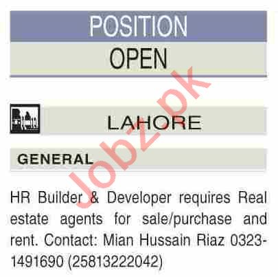 Real Estate Agent Jobs 2021 in HR Builders & Developers