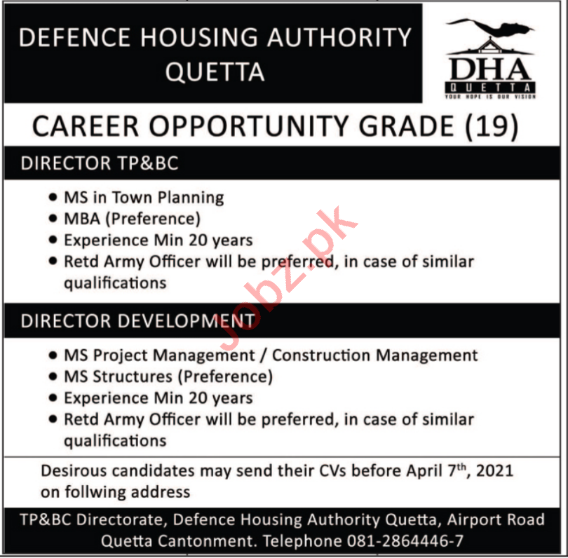 Defence Housing Authority DHA Quetta Jobs 2021 for Director