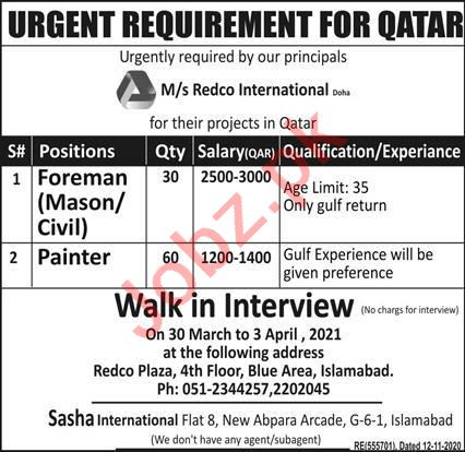 Civil Foreman & Foreman Mason Jobs 2021 in Qatar