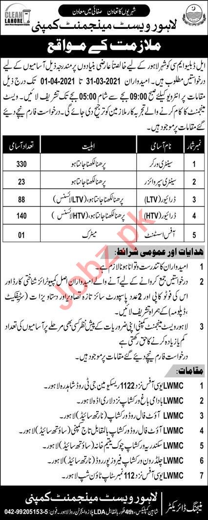 Lahore Waste Management Company LWMC Jobs 2021 for Drivers