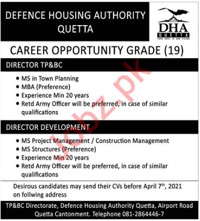 DHA Quetta Jobs 2021 for Director Development