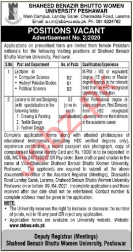 Shaheed Benazir Bhutto Women University Faculty Jobs 2021