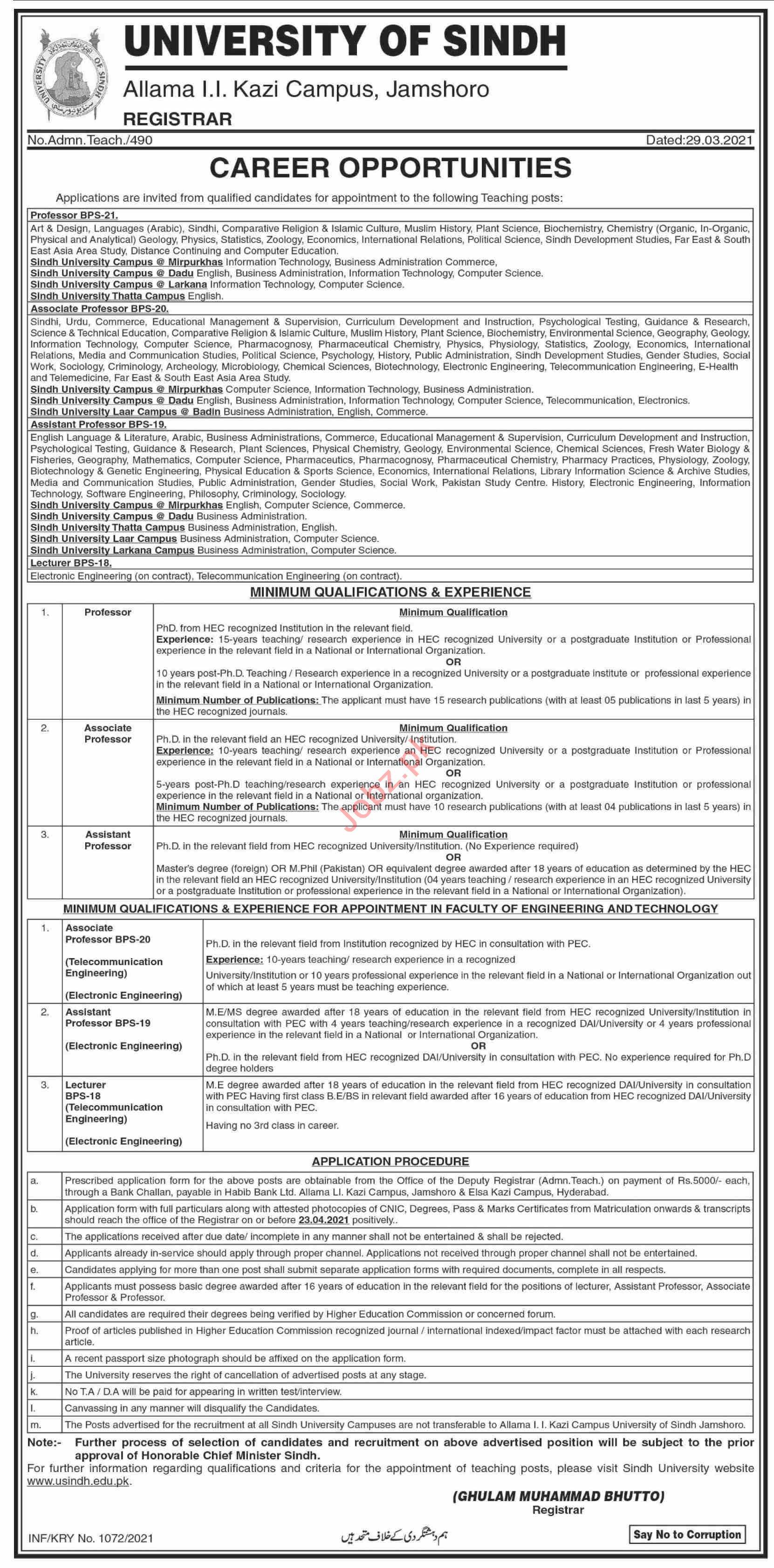 University of Sindh Jamshoro Jobs 2021 for Professors