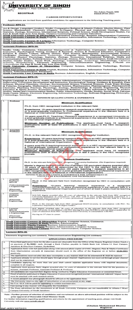 University of Sindh Jamshoro Jobs 2021 Professor & Lecturer