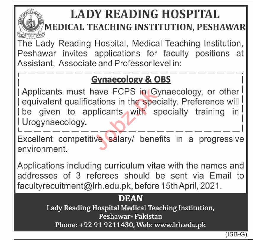 Lady Reading Hospital LRH MTI Jobs 2021 for Professors
