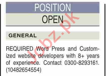Web Developer & Word Press Developer Jobs 2021 in Karachi