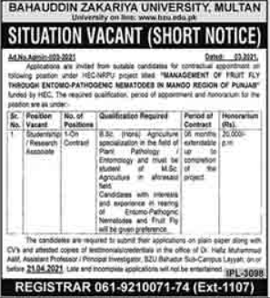 Bahauddin Zakariya University Multan Job 2021