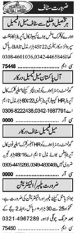 Daily Khabrain Newspaper Classified Jobs 2021 in Lahore