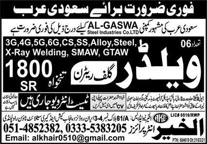 Al Gaswa Steel Industries Co Limited Jobs 2021