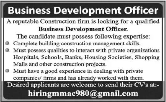 Business Development Officer Job 2021 in Multan