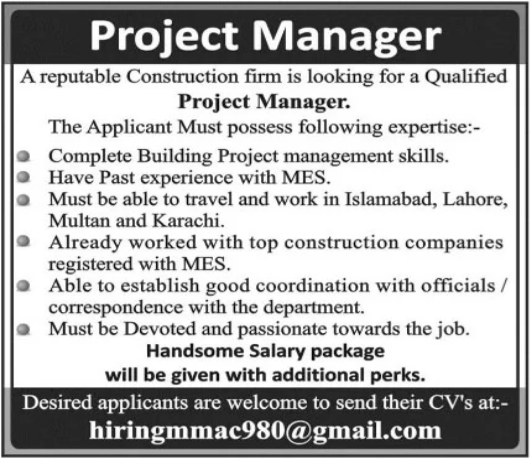 Project Manager Job 2021 in Multan