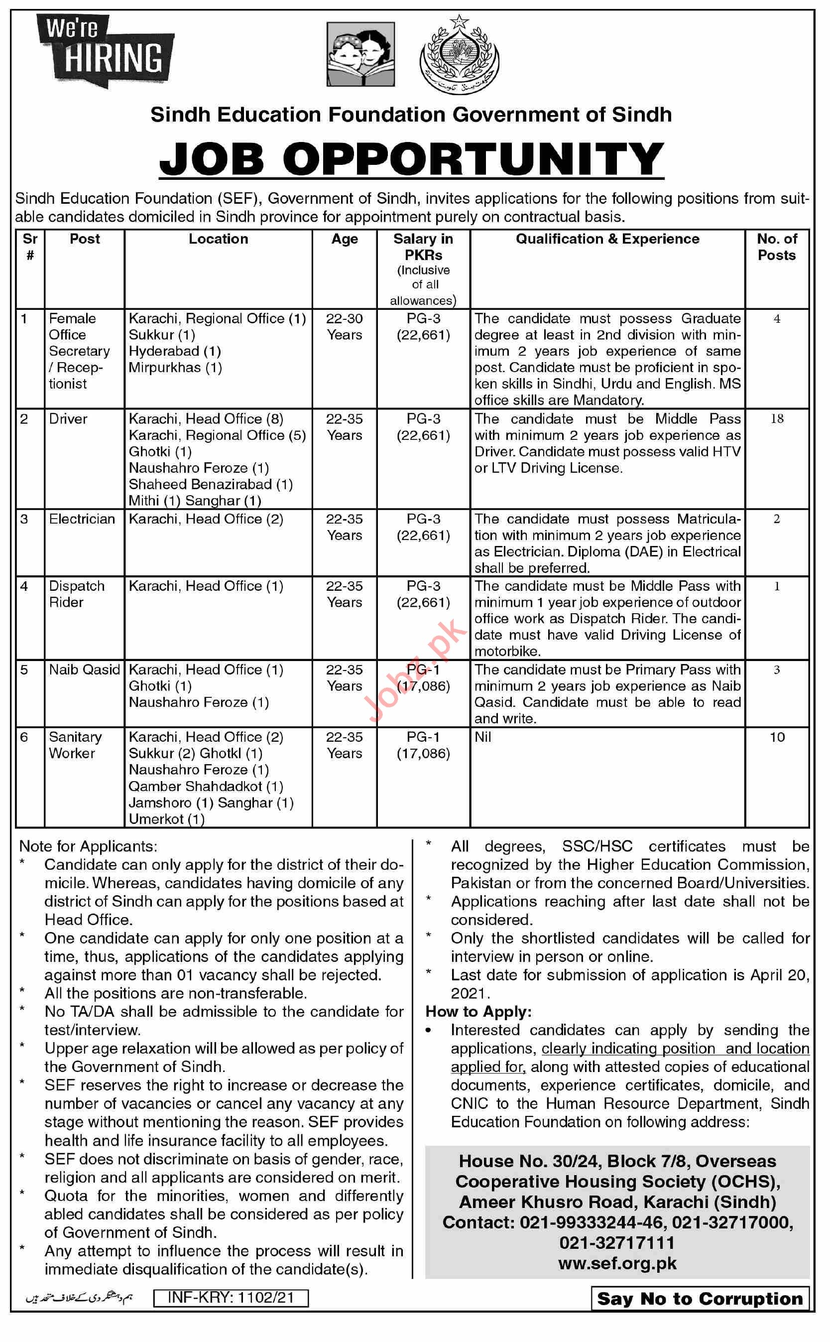 Sindh Education Foundation SEF Karachi Jobs 2021 for Drivers