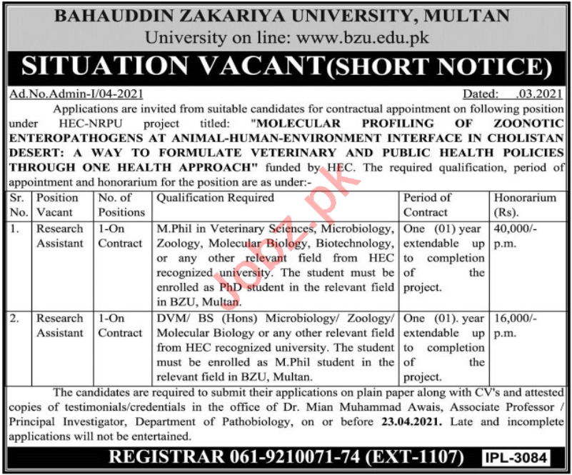 Bahauddin Zakariya University BZU Multan Jobs 2021