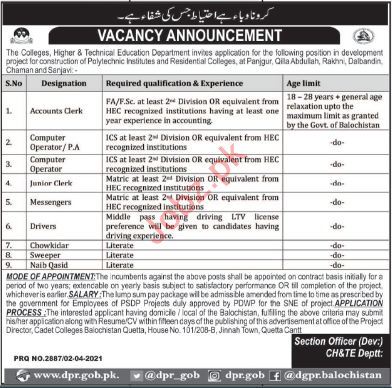 Colleges Higher & Technical Education Department Jobs 2021