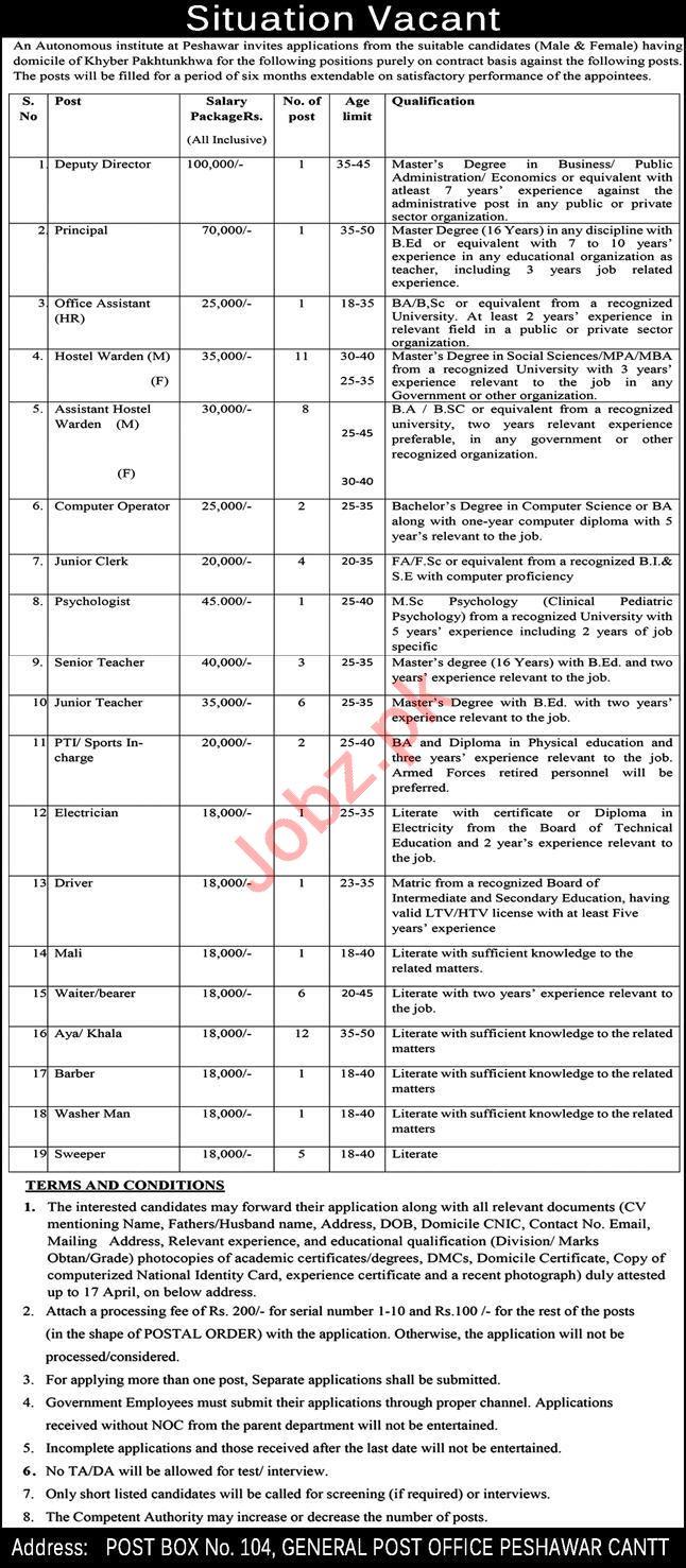 Post Box No 104 General Post Office Peshawar Cantt Jobs 2021