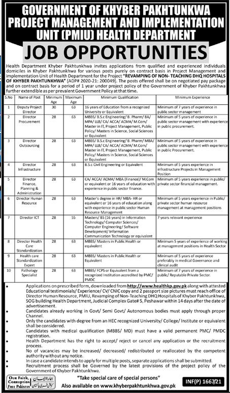Project Management and Implementation Unit PMIU Jobs 2021