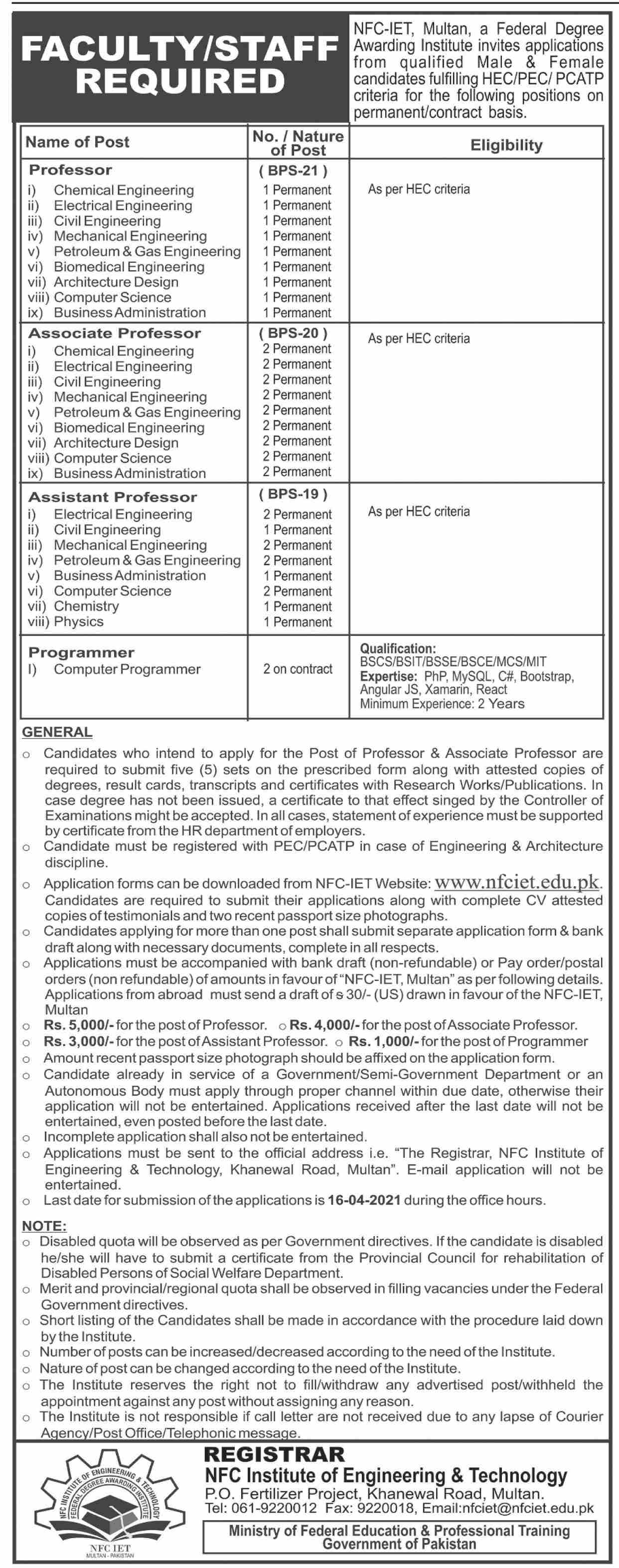 NFC Institute of Engineering & Technology Jobs 2021