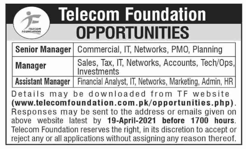 Telecom Foundation TF Jobs 2021 in Islamabad