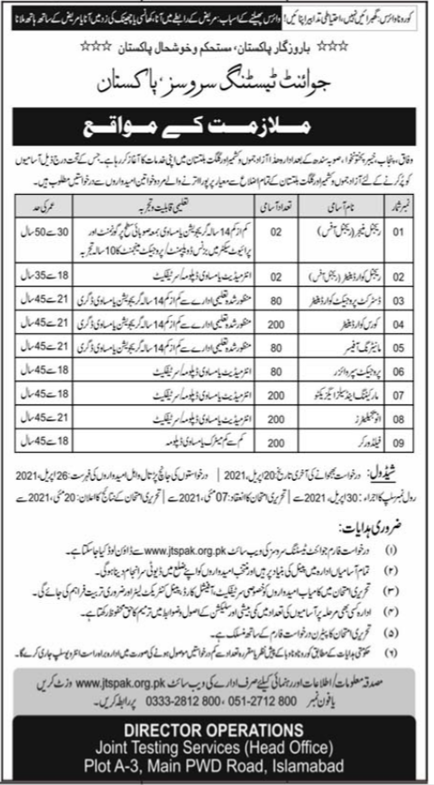 Joint Testing Service Pakistan Jobs 2021