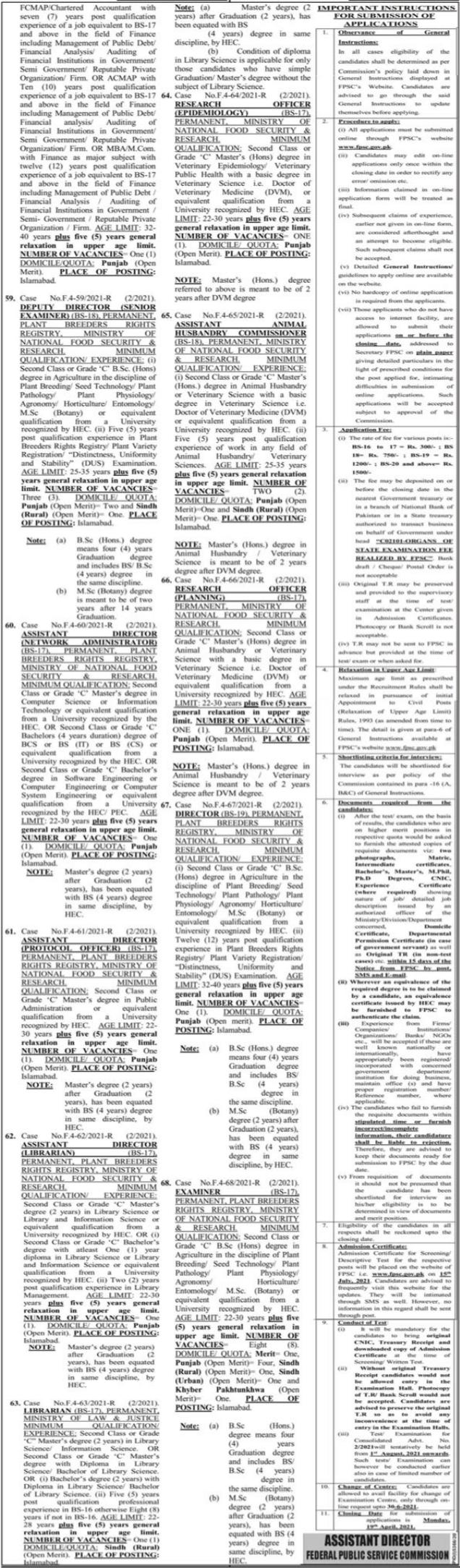 FPSC Islamabad April Jobs 2021