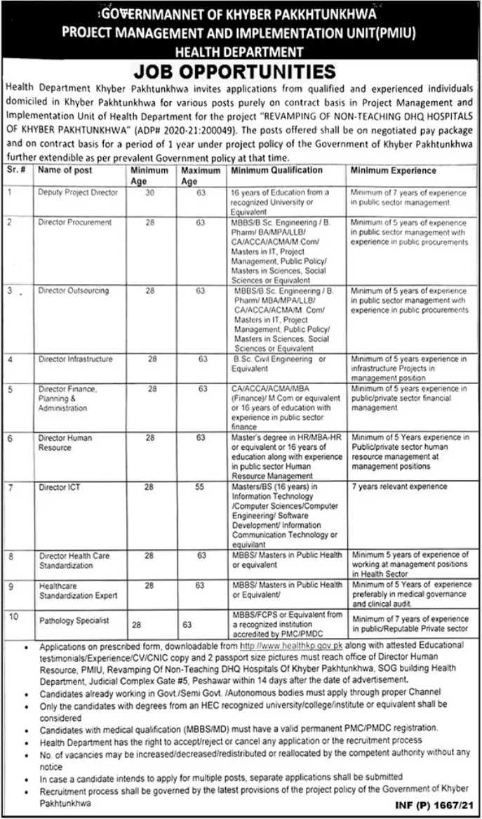 Health Department Jobs 2021 in Peshawar KPK