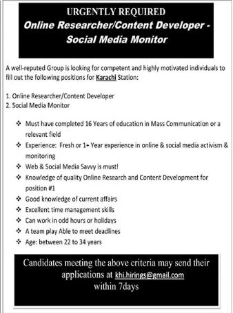 Content Developer & Social Media Monitor Jobs 2021